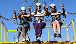 3 girls on zipline