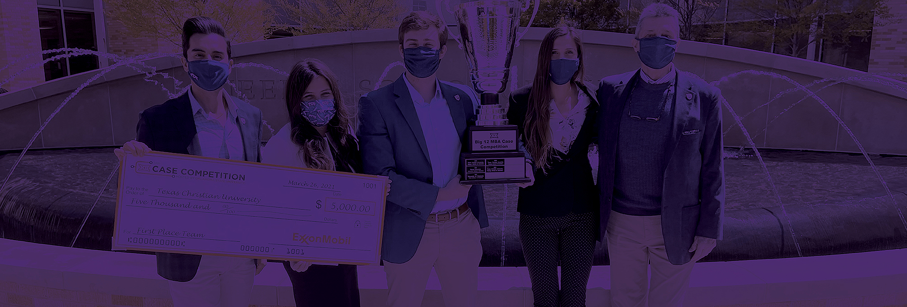 Section Image: Big 12 Case Competition winning team with check and trophy